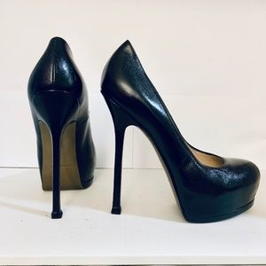YSL TRIBTOO 105 Black Leather Pump